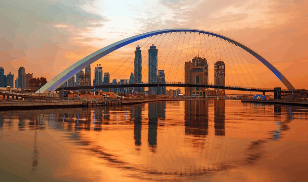 Dubai Water Canal Sunrise View